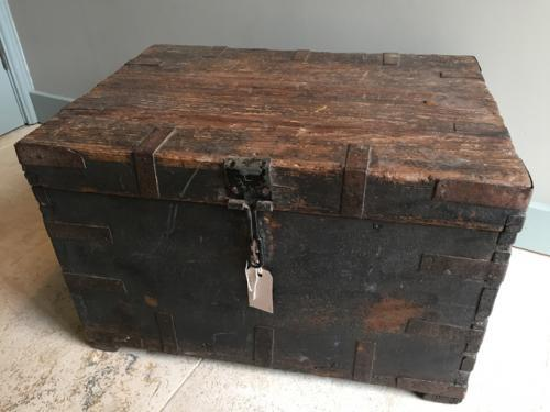 19th Cent Box in Original Worn Black Paint