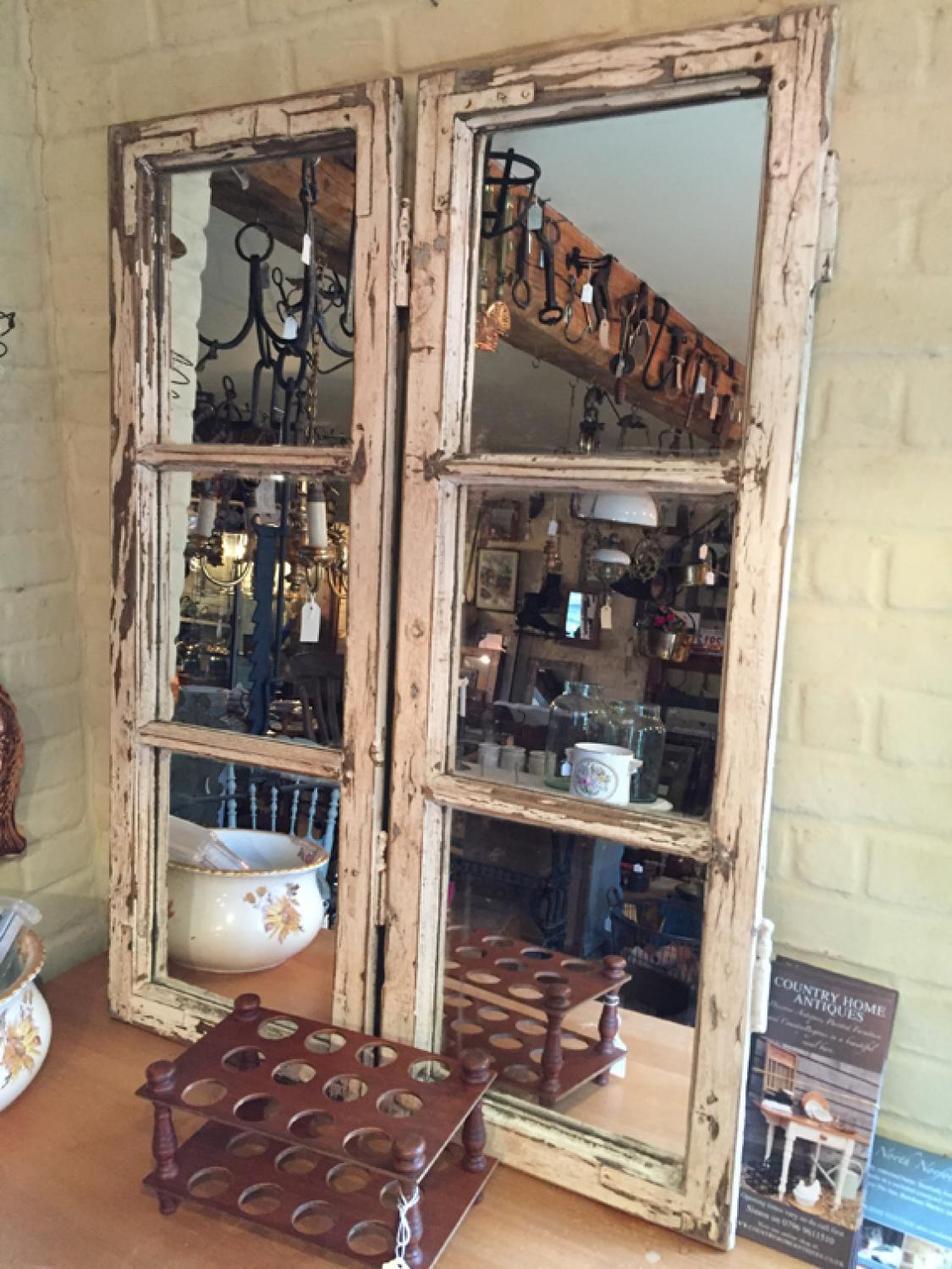 Antique Mirrored French Windows in old White