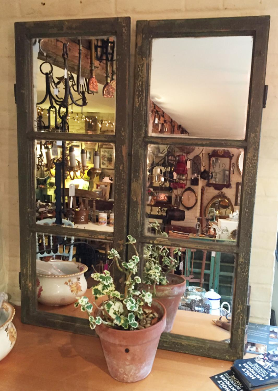 Old French Mirrored Windows in Original Green