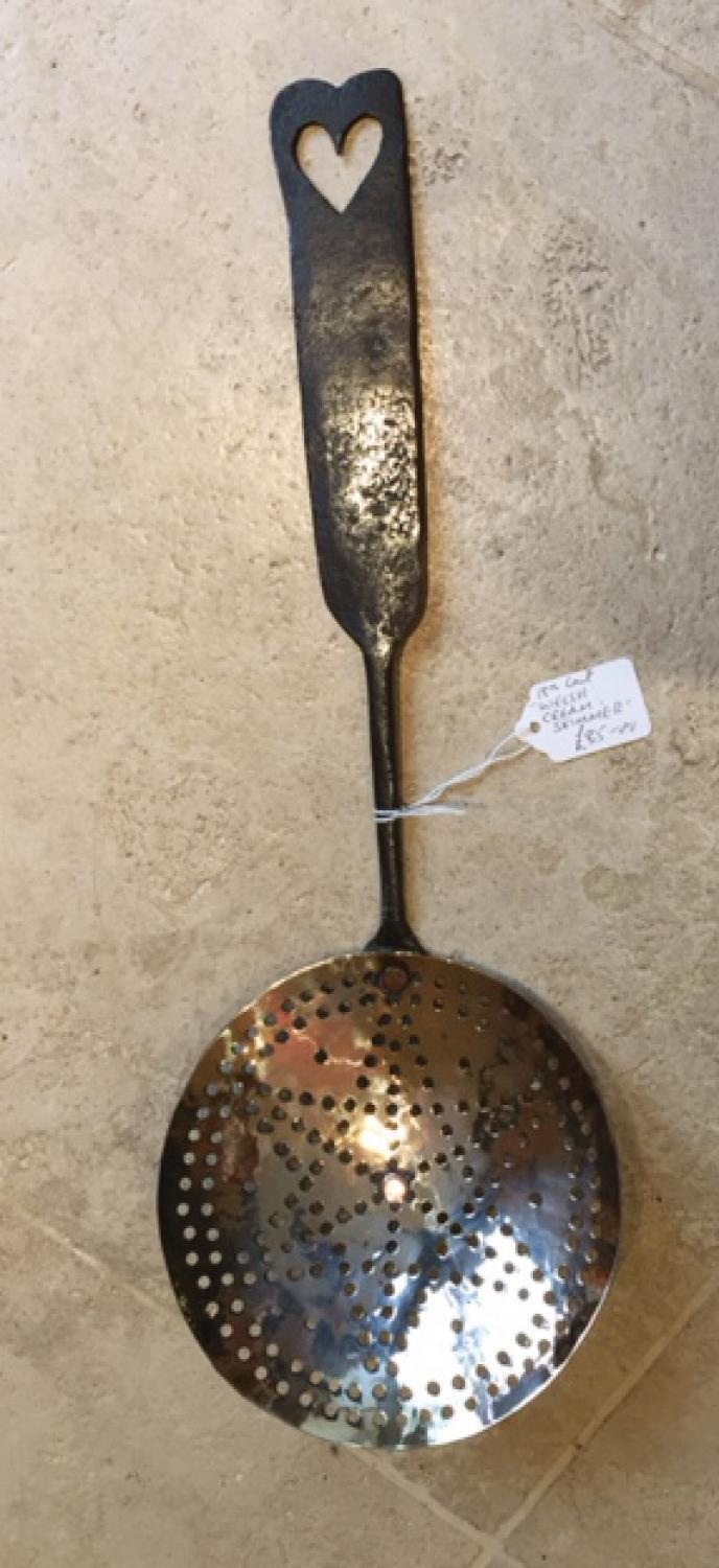 Georgian Welsh Brass Cream Skimmer