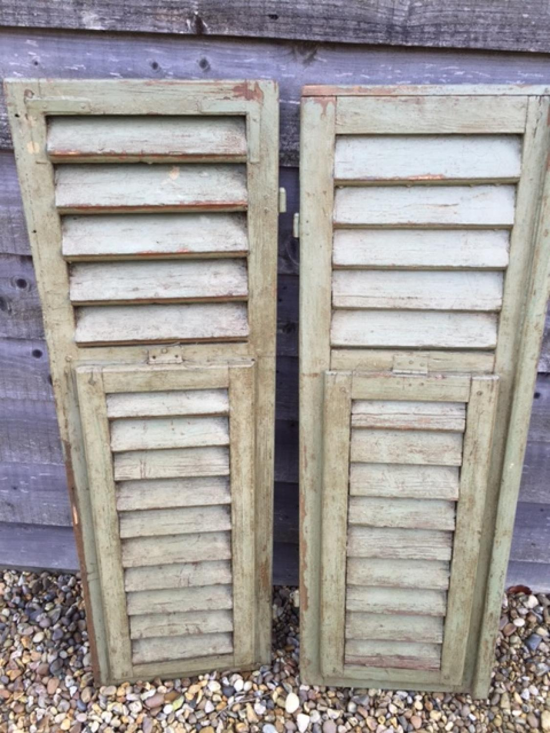 Pair of Antique Shutters (Pale Green)