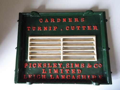 Gardners Turnip Cutter Plaque c.1862