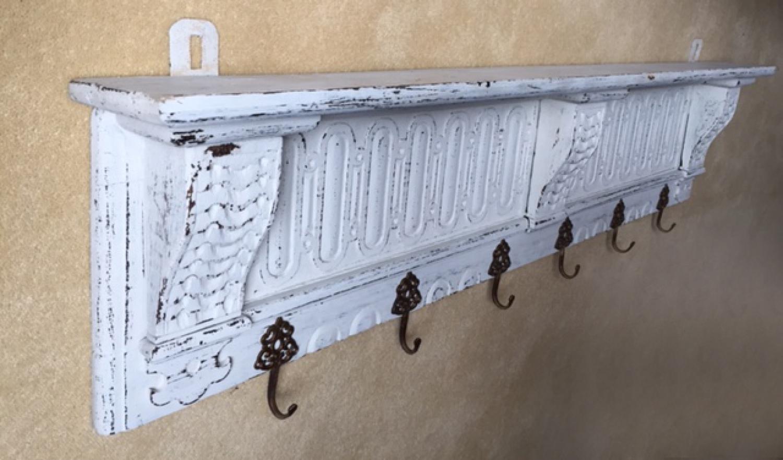 Antique French Carved Coat Shelf