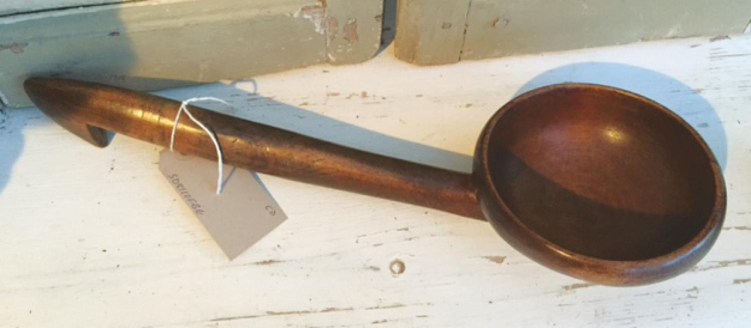 Large early Welsh Cawl/Dairy Ladle in Sycamor