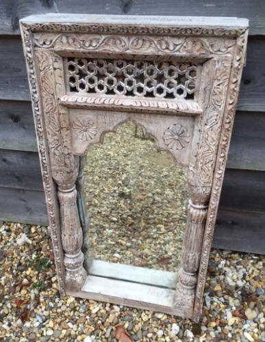 19th Cent Well Carved Indian Mirror