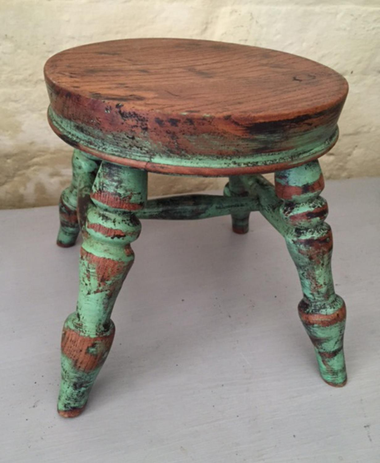 Antique Elm Stool with cross stretcher