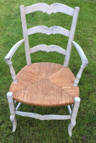 Antique French Arm Chair in pale grey paint