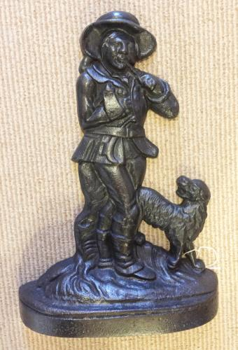 Victorian Cast Iron Door Stop - Poacher