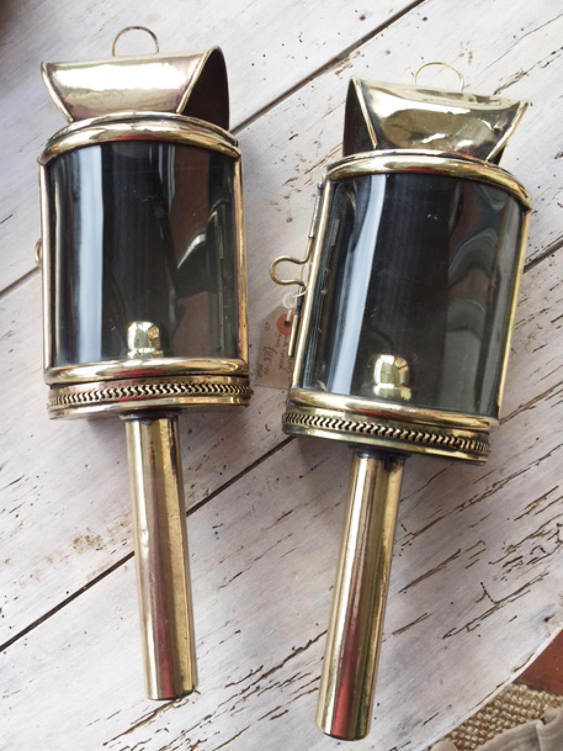 Superb Pair Brass Cart Lamps