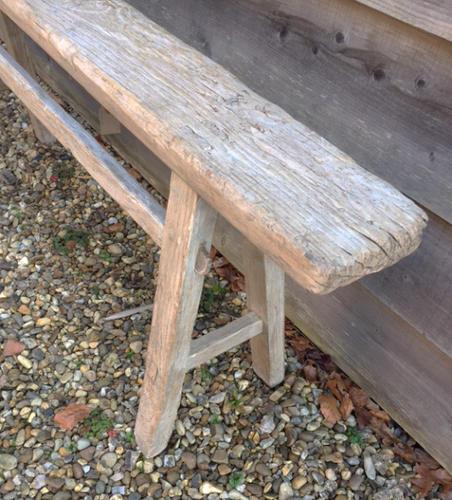 Antique Pale Elm bench