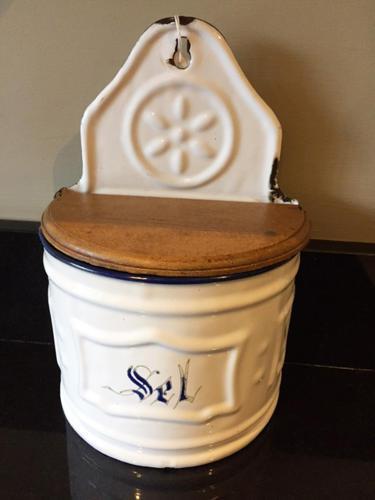 Antique French Enamel Salt Box