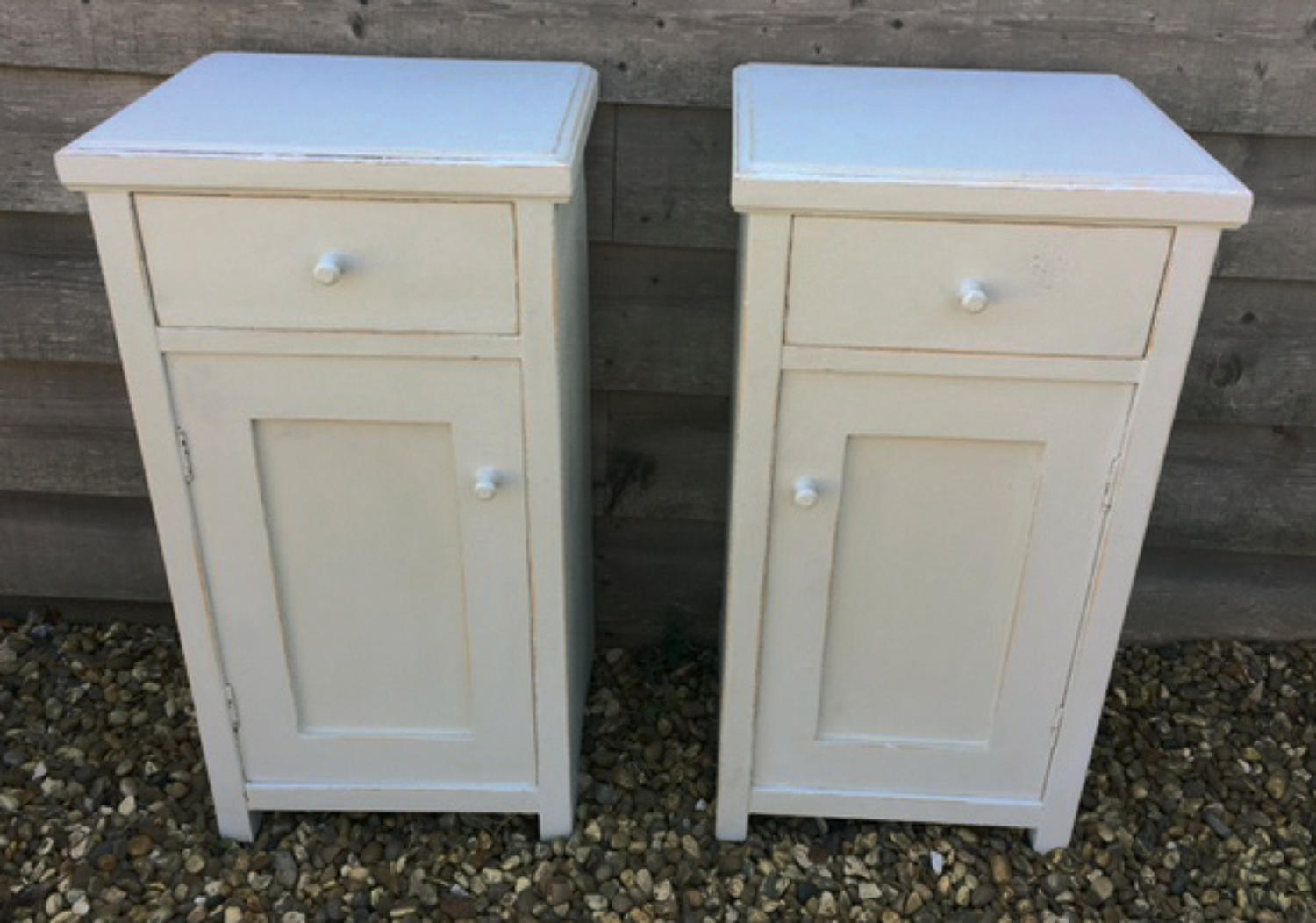 Matching Pair Painted Bedside Cupboards
