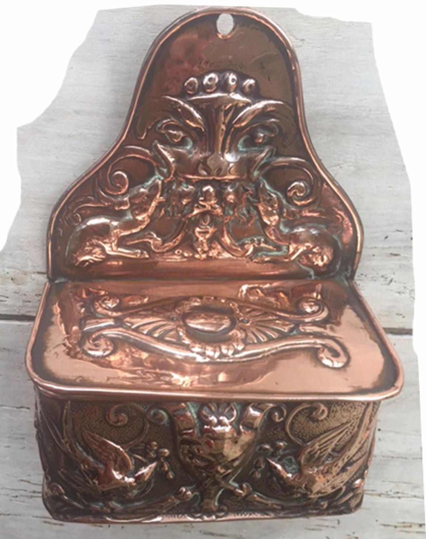 19th Cent Copper Match/Spill holder