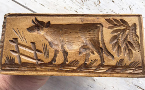 Antique Rectangular Cow Butter Stamp