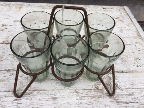 Vintage rack of Cafe Tea Glasses
