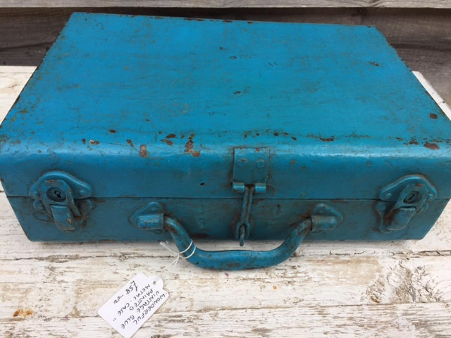 Vintage Metal Briefcase in original Blue Paint