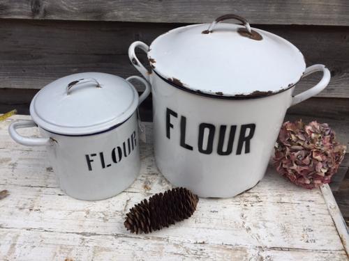 White enamel Flour Bins