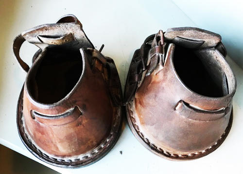 Pair Antique Horse Lawn Boots