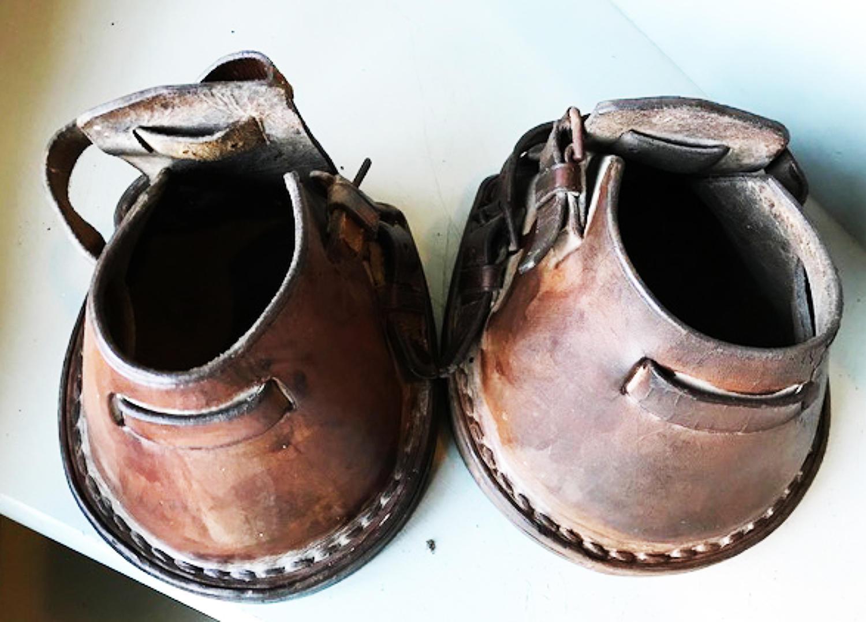 Pair Antique Horse Lawn Boots