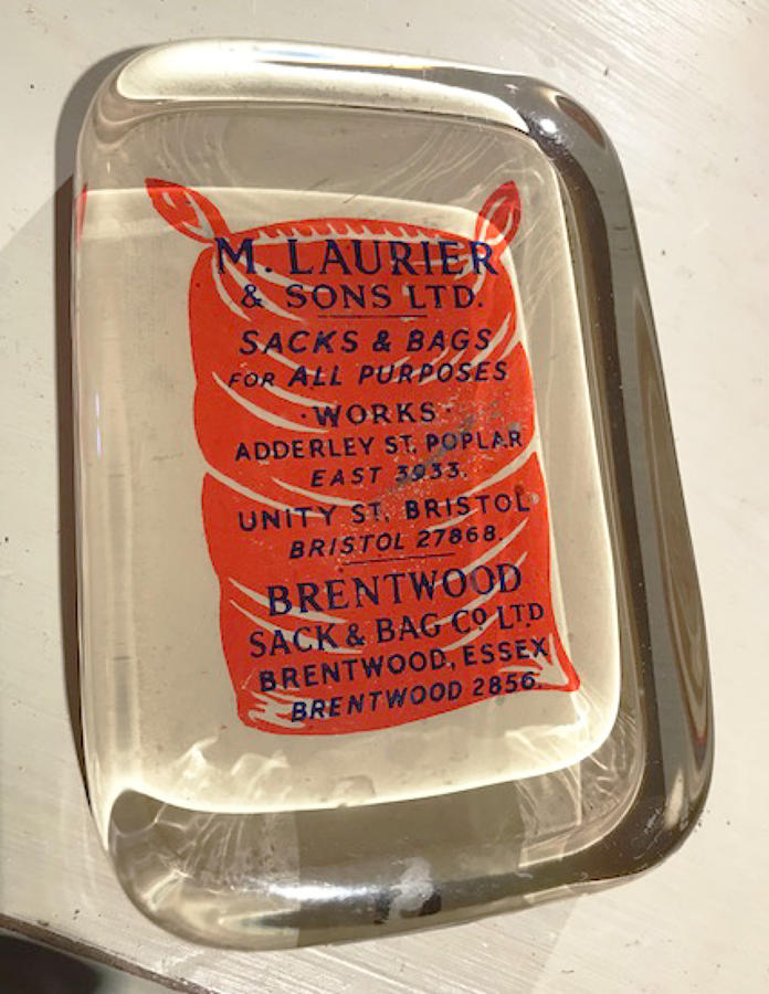 Edwardian Glass Advertising Paperweight