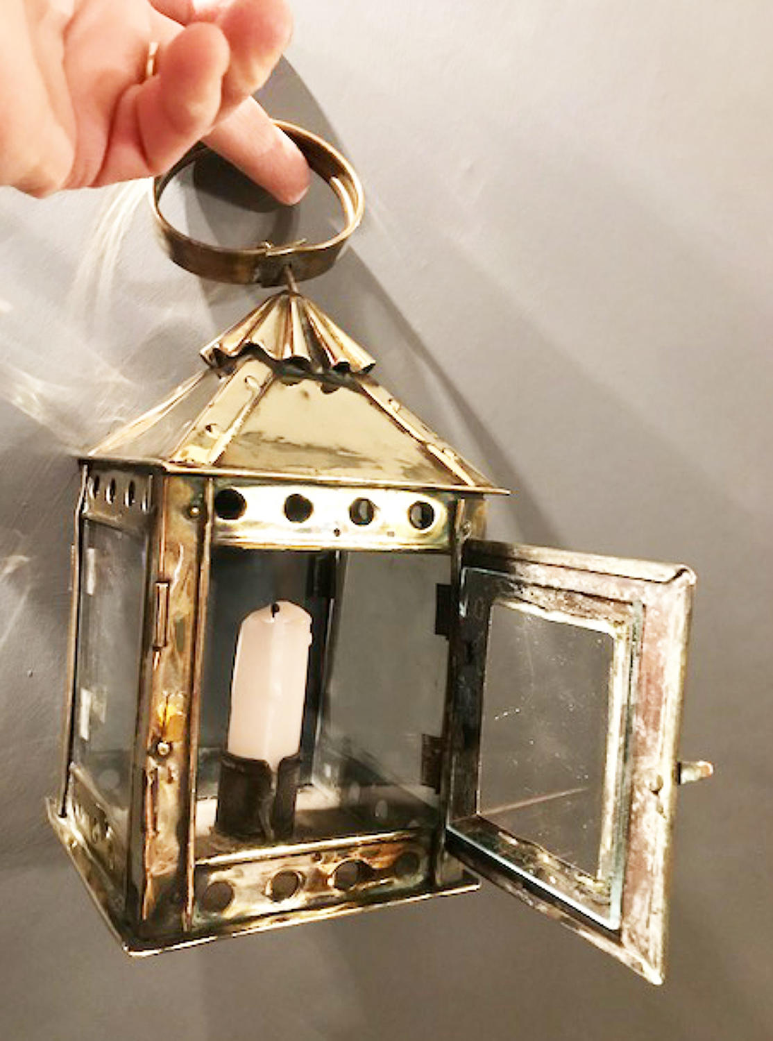 19th Cent Small Brass Hand Lantern