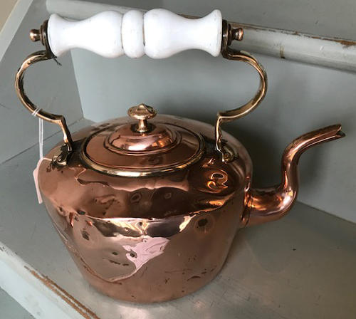 Victorian Copper Kettle with glass handle