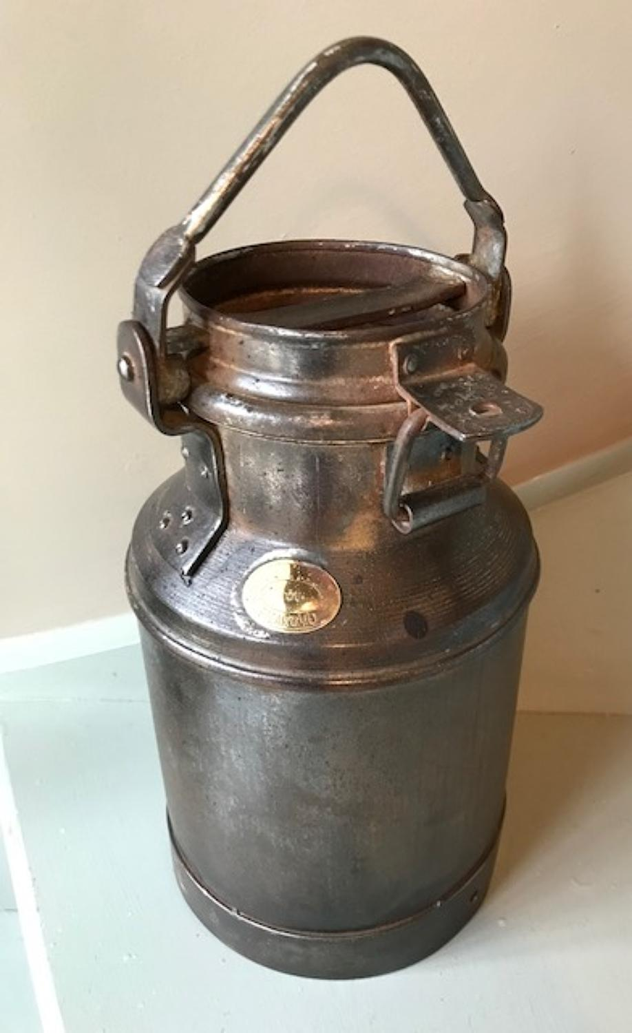 Lock Lid Milk Churn with brass label