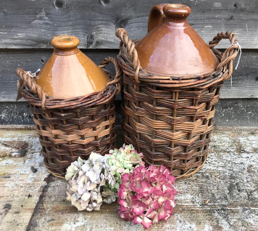 Antique Stone Basket Weave Flagons
