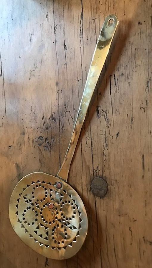 Victorian Brass Cream Skimmer