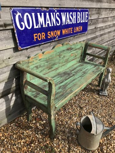 Antique Gustavian Bench (original green paint)