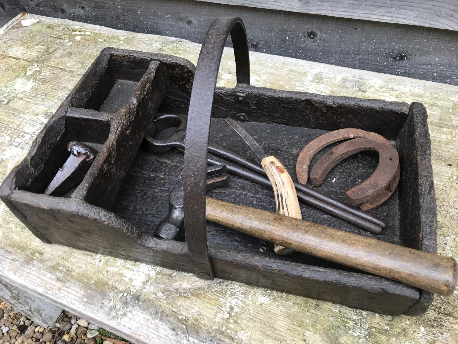 19th Cent Farrier's Box with tools