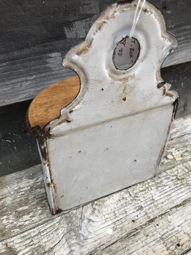 Antique enamel Salt Wall Caddy