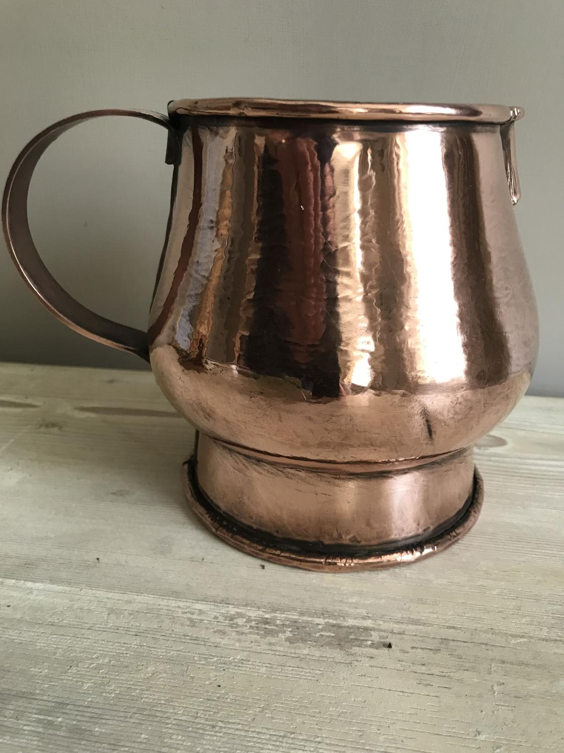 19th Cent Wide Mouthed Copper Milk Jug