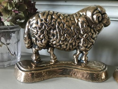 Pair 19th Cent bronze Sheep