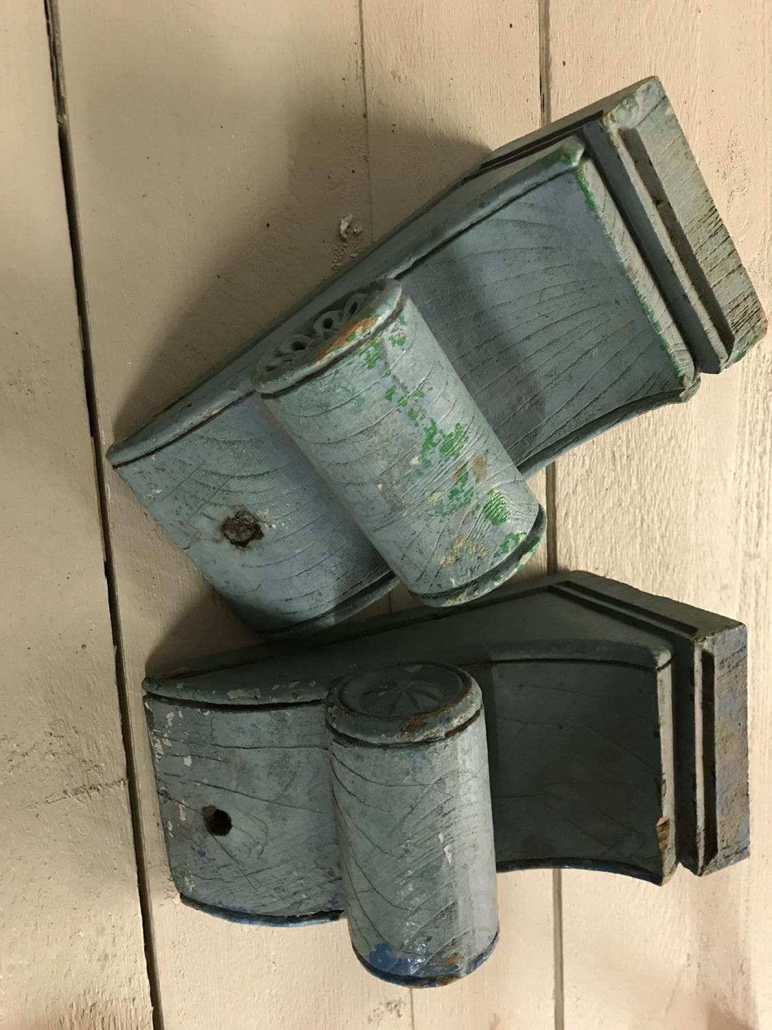 Old Blue Painted Brackets
