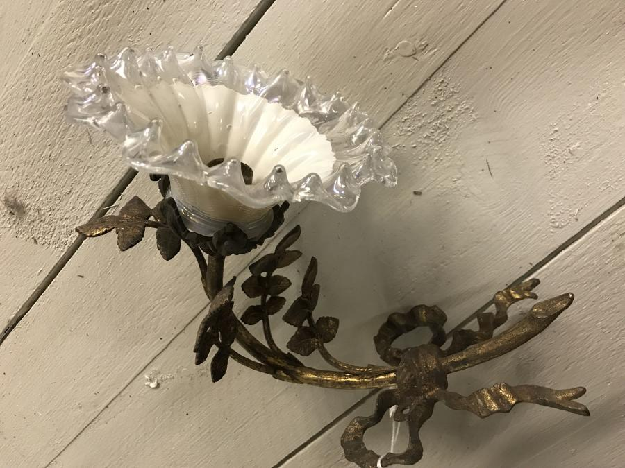 Antique French Foliage Wall Lamp