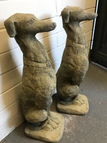 Pair of Large Stone Dogs