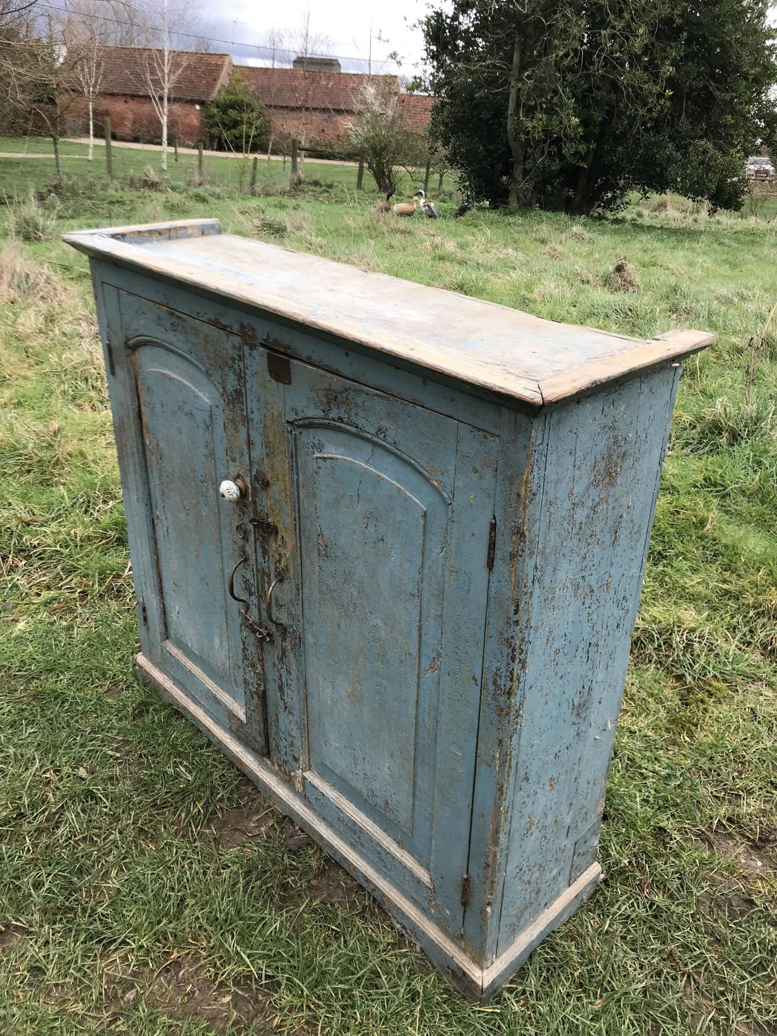 19th Cent Blue Painted Cupboard