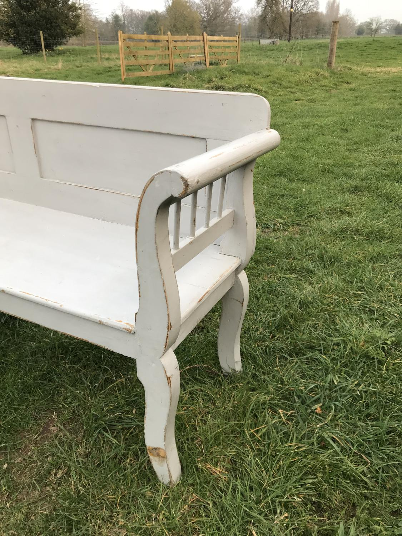 Grey painted Gustavian Bench Seat