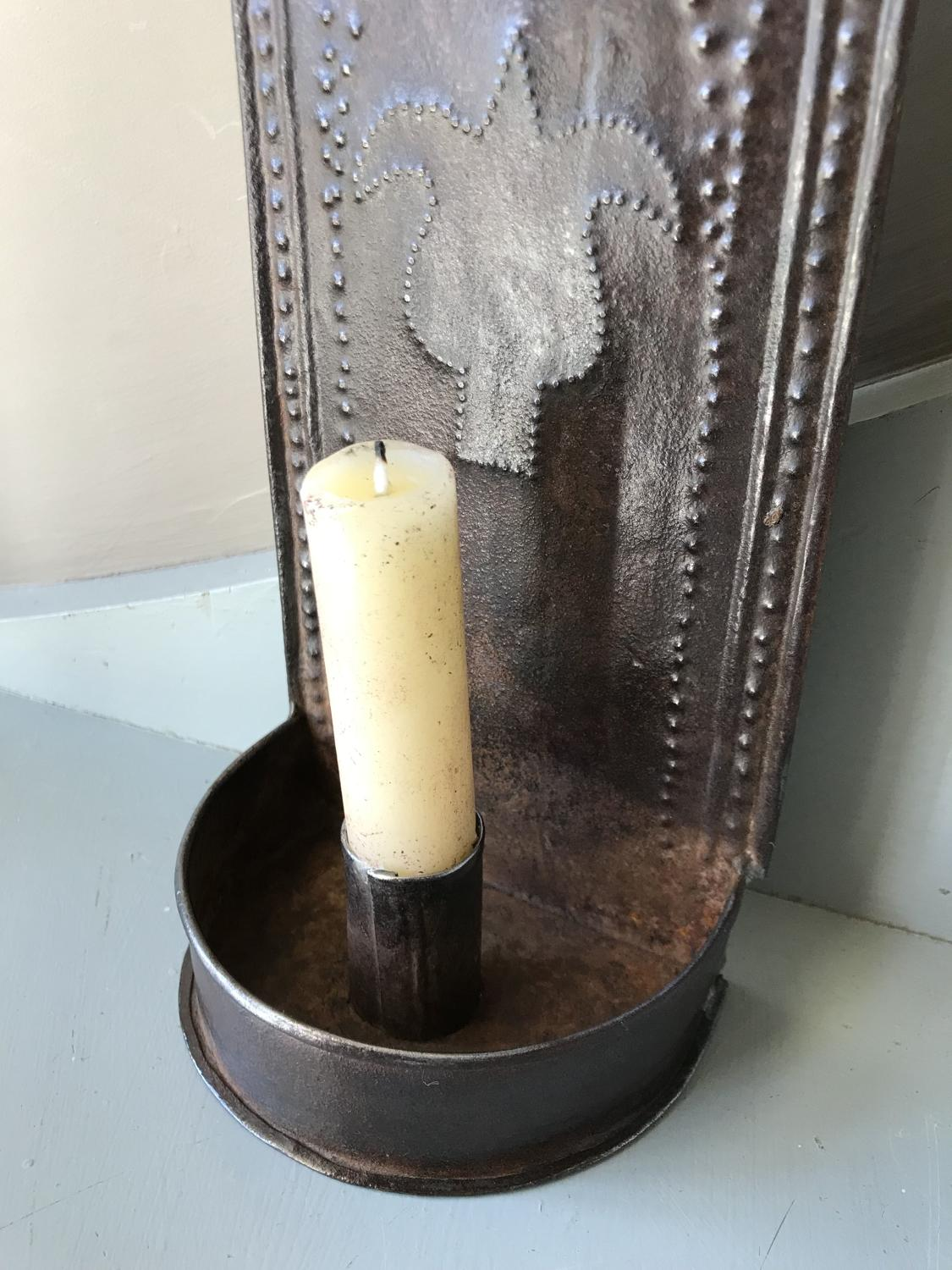 19th Cent Tin Wall Candle Sconce