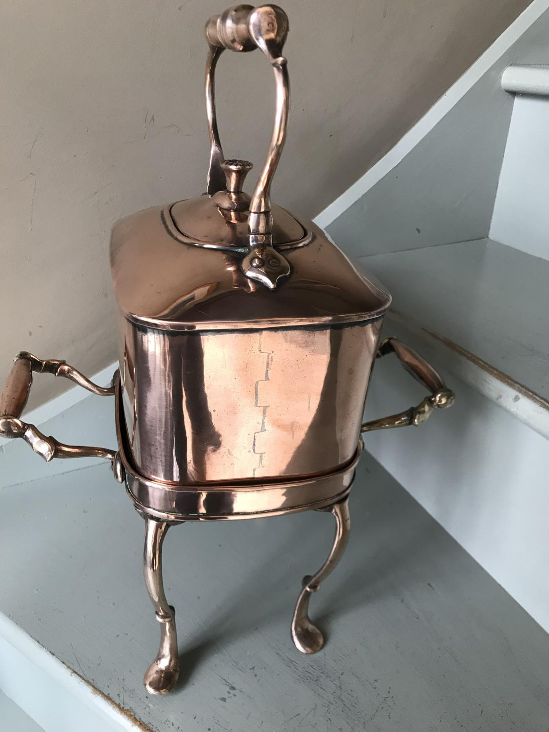 Rare design Victorian Copper Kettle on a Stand