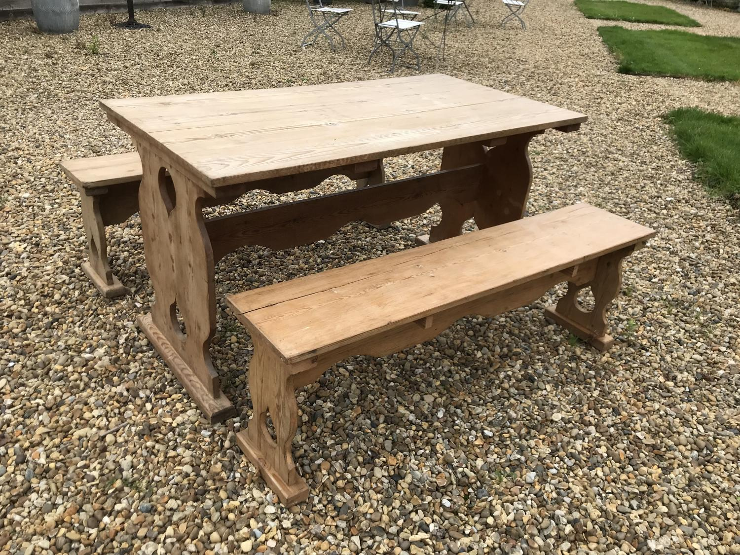 Vintage Pine Trestle Table and Matching Bench Seats