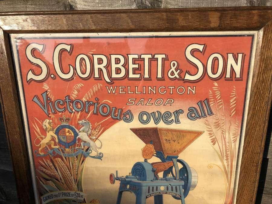 Framed Victorian Advert S. Corbett Grinding Mills