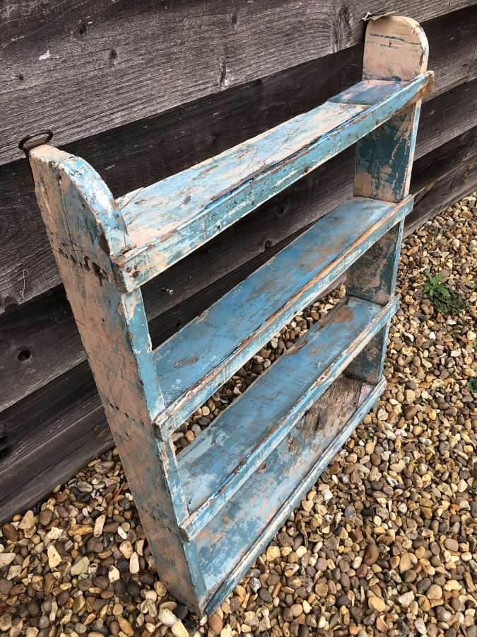 Antique Blue Painted Country Shelves