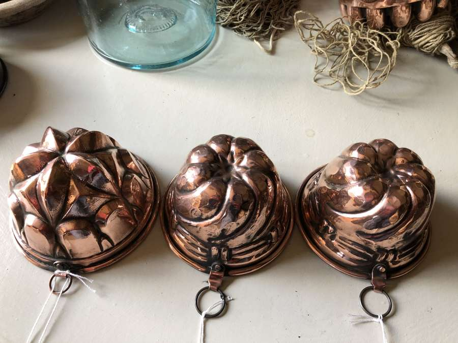 Mid Size Antique Copper Jelly Moulds