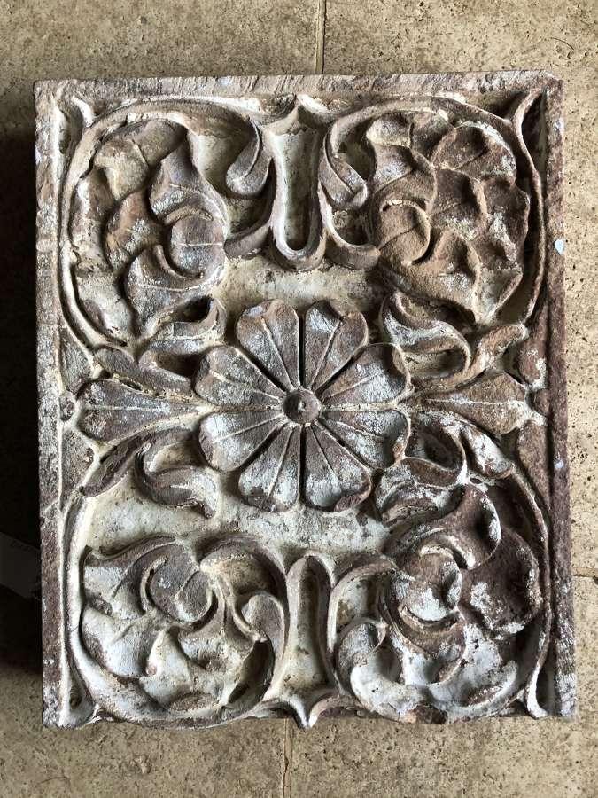 19th cent carved Sandstone panel