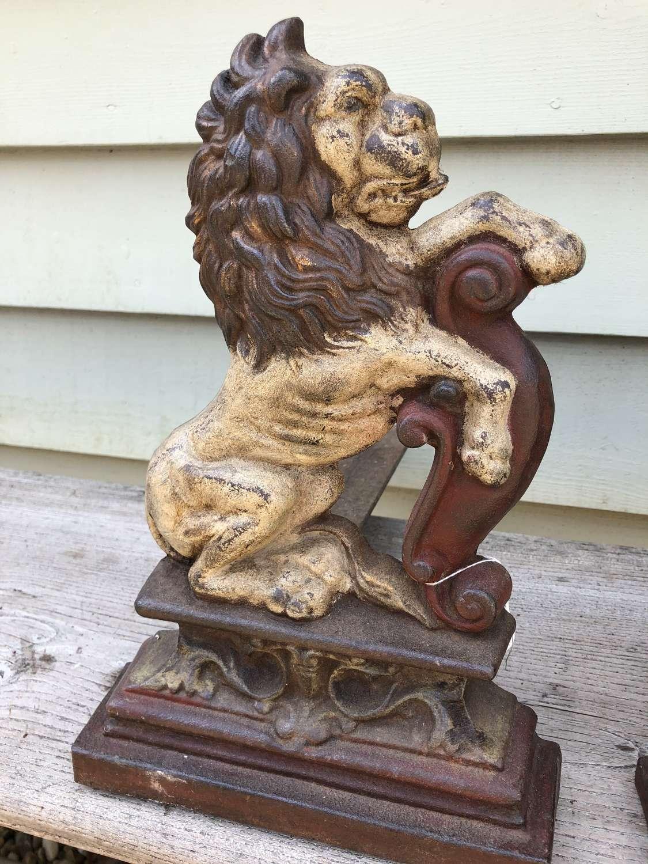 Pair Victorian Fireside Lions