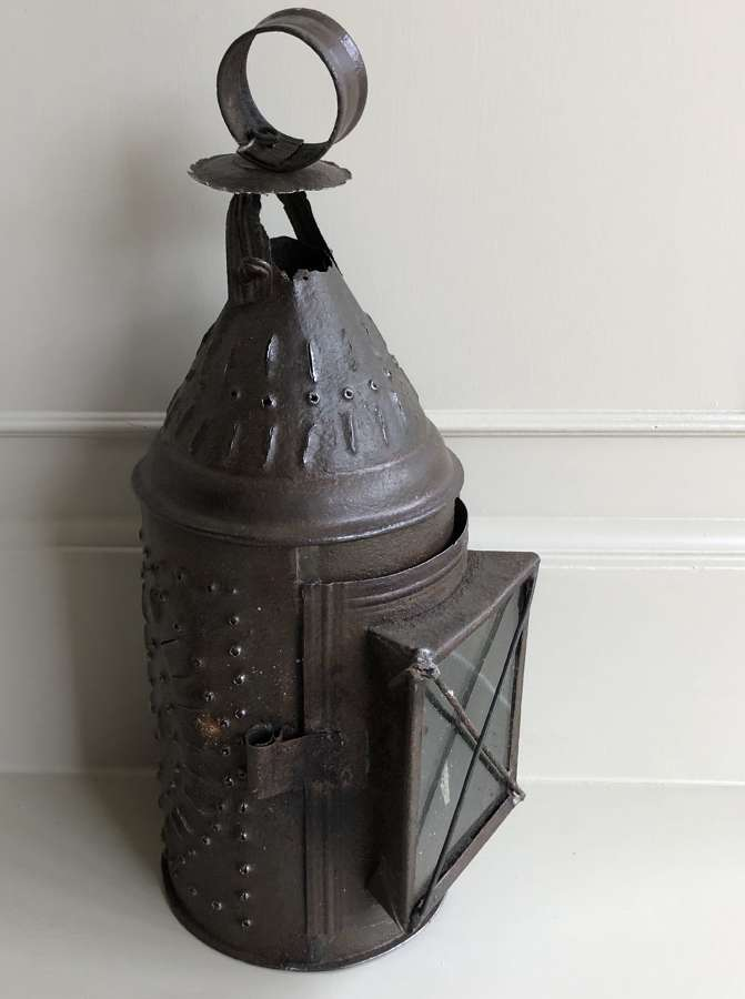 19th Cent Tin Punch Work Lantern