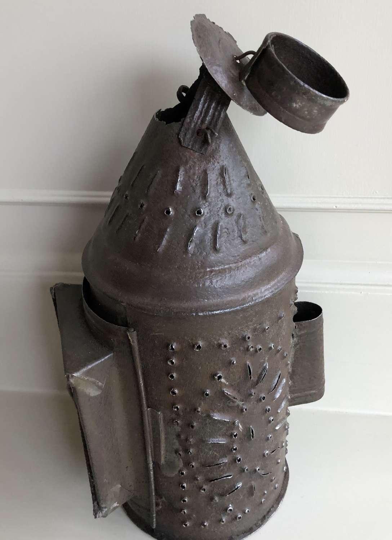 19th Cent Tin Punch Work Lantern