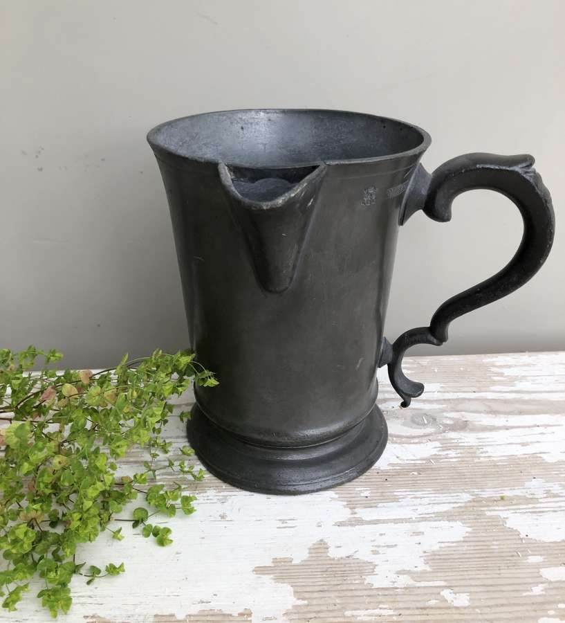 Large 1 Quart Victorian Pewter Pouring Tankard
